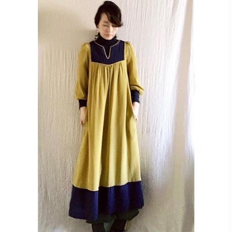 【BOUTIQUE】 silK de chine dress TE-3402/MUSTARD