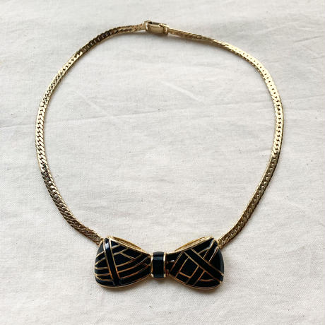 【VINTAGE 】 black ribbon necklace