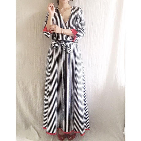 【BOUTIQUE 】stripe cotton dress TE-3401   BLUE STRIPE