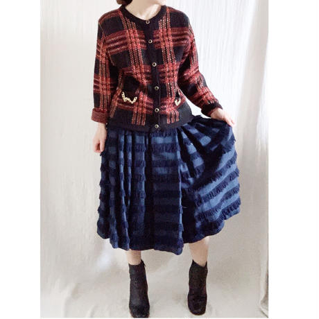 BOUTIQUE fringe skirt  /NAVY