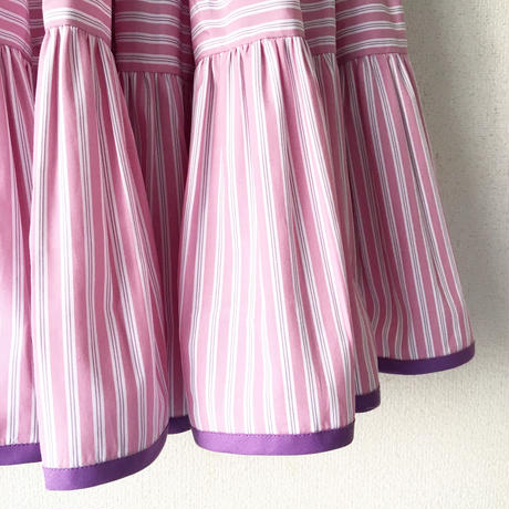 終了しました《予約販売》BOUTIQUE stripe cptton  back ribbon dress TE-3500