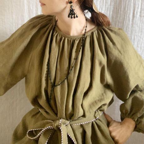 BOUTIQUE linen volume dress  TE-3605 KHAKI