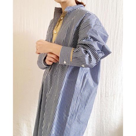BOUTIQUE stripe X metal shirts dress TE-3502  /BLUE STRIPE