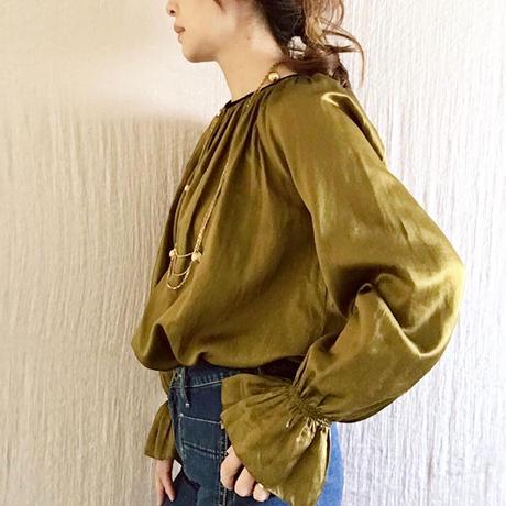 【BOUTIQUE】 silk cotton back ribbon tops  TG-3301  /KHAKI