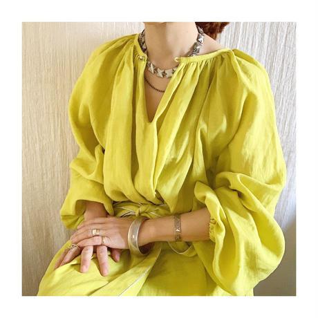 【予約販売】BOUTIQUE  ramie linen  volume dress  TE-3605 LEMON YELLOW