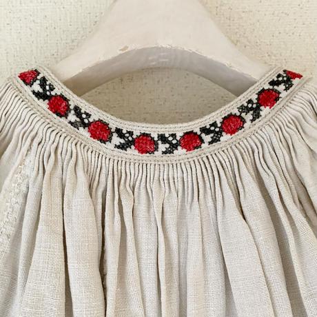 【VINTAGE/ANTIQUE】  linen  black   embroidery  dress 🇺🇦
