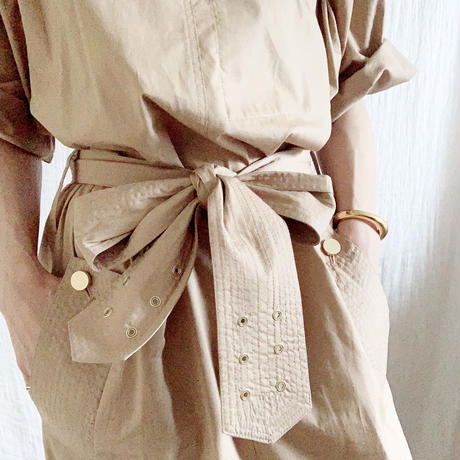 【BOUTIQUE  】cotton stitch belt dress  TE-3601
