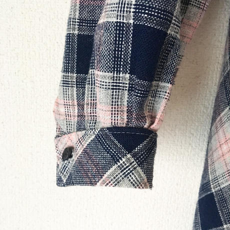 VINTAGE  check dress   BABY PINK X NAVY