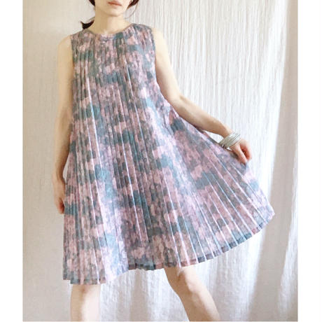【VINTAGE 】pleats print dress
