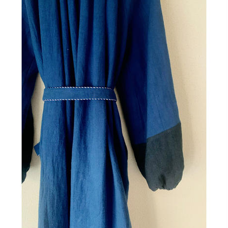 BOUTIQUE  ramie linen  volume dress  TE-3605 BLUE NAVY