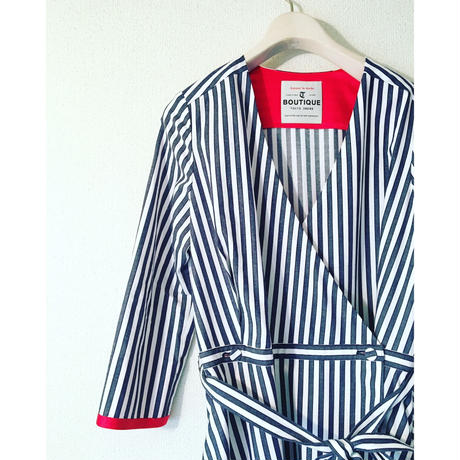 終了しました《予約販売》BOUTIQUE stripe cotton dress TE-3401   BLUE STRIPE
