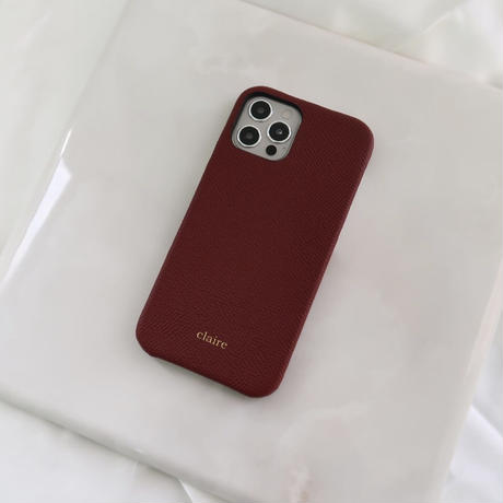 Italian cow leather iPhone case -Burgundy-