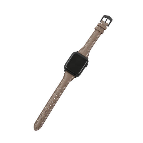 French goat leather slim Apple watch band -Etoupe-【black】