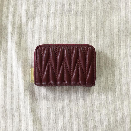 real leather quilting multi card case