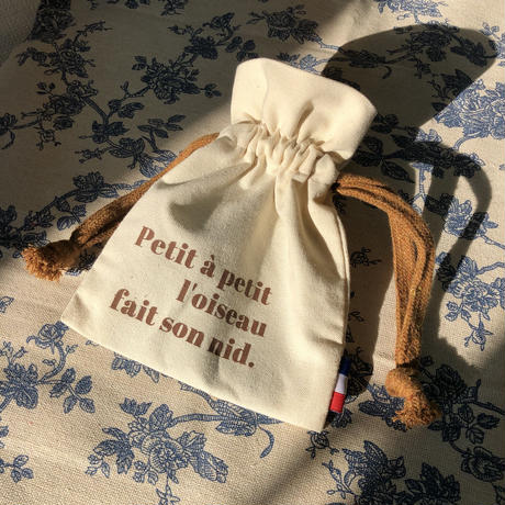 french drawstring canvas pouch