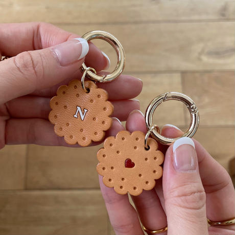 vegetable tanned leather biscuit key ring