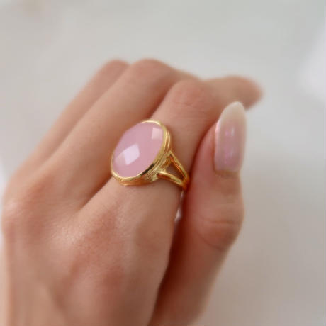silver925+18kgp rose chalcedony ring