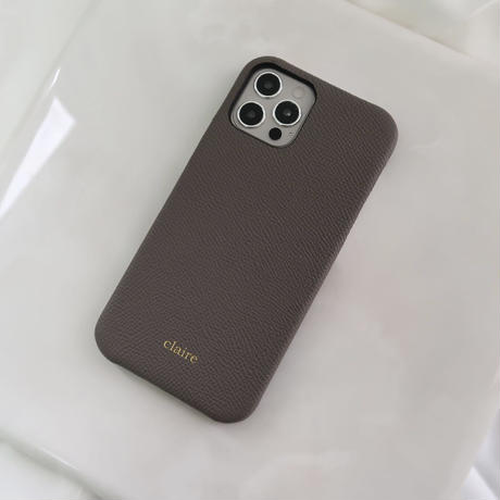 Italian cow leather iPhone case -Gray-