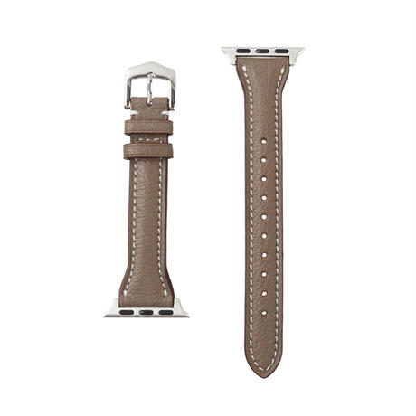 French goat leather slim Apple watch band -Etoupe-【silver】