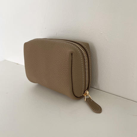 Full grain leather cosmetic pouch 全3色