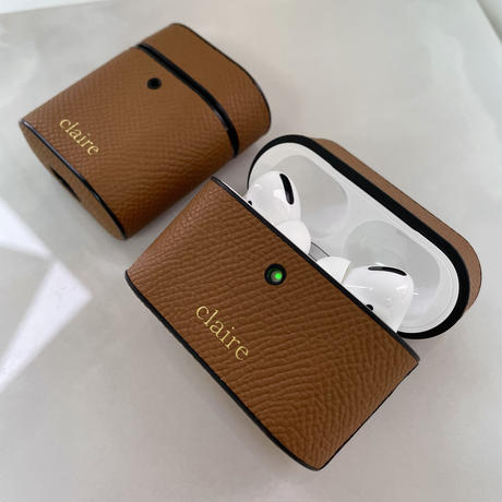 Italian cow leather Airpods case -Camel-