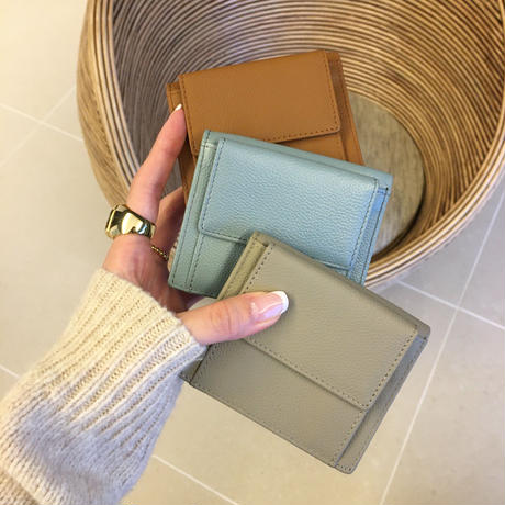 real leather mini wallet
