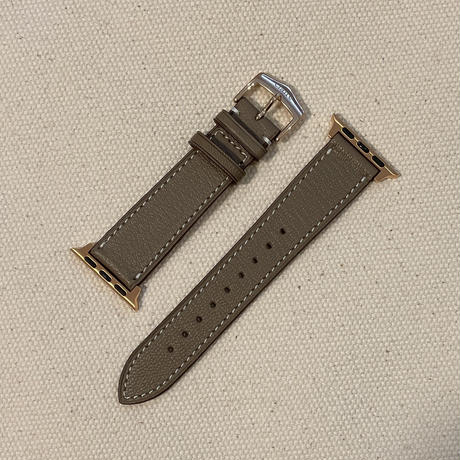 French goat leather Apple watch band -Etoupe-【pink gold】