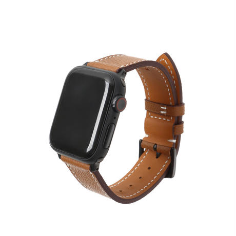 Italian cow leather Apple watch band  -Camel-【black】