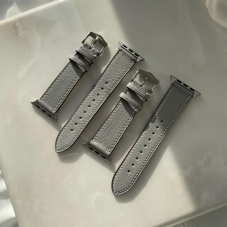 French goat leather Apple watch band -Ice gray-【silver】