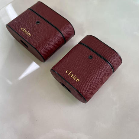 Italian cow leather Airpods case -Burgundy-