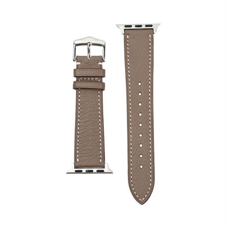 French goat leather Apple watch band -Etoupe-【silver】