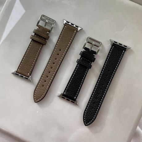 French goat leather Apple watch band -Etoupe & Black-