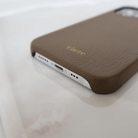 French goat leather iPhone case -Etoupe-
