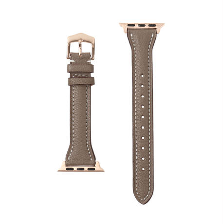 French goat leather slim Apple watch band -Etoupe-【pink gold】