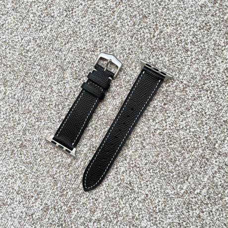 Italian cow leather Apple watch band  -black-【silver】