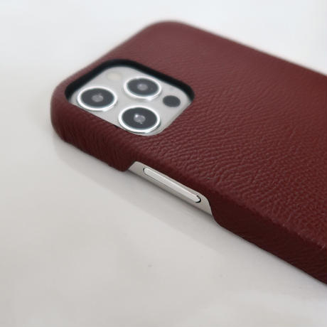 Italian cow leather iPhone case -Burgundy-