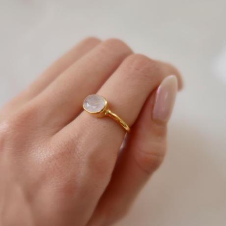 silver925+18kgp rainbow moonstone ring