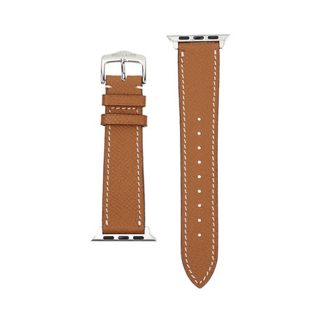 Italian cow leather Apple watch band  -Camel-【silver】