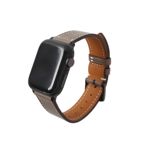 French goat leather Apple watch band -Etoupe-【black】