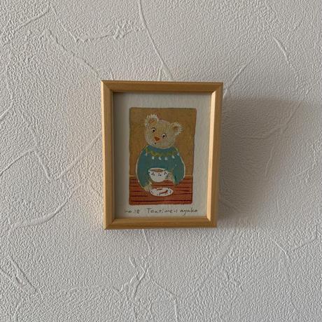 小さな版画絵ayako 「tea time−1」セーターgreen