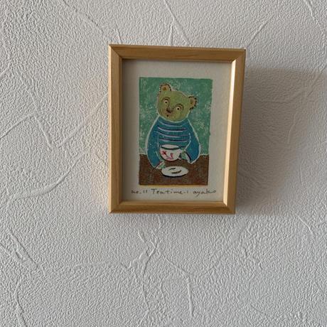 小さな版画絵ayako 「tea time−1」セーターblue