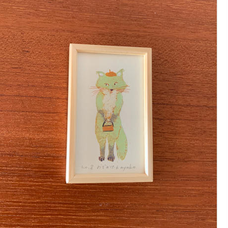 小さな版画絵ayako「お出かけ」green