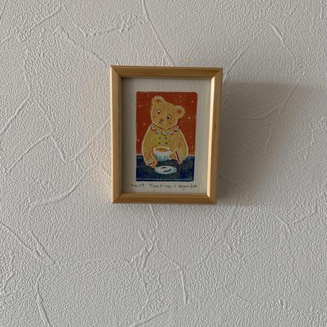 小さな版画絵ayako  「tea time−1」セーターyellow