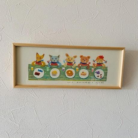 小さな版画絵ayako 「おやつの時間」green