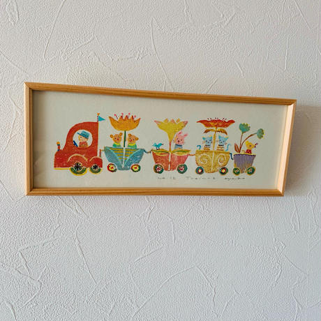 小さな版画絵ayako 「train−2」