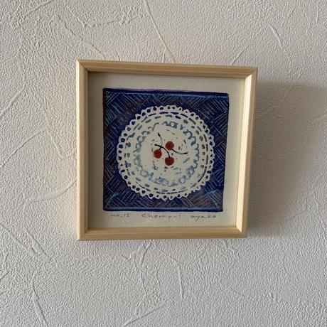 小さな版画絵ayako 「cherry」blue