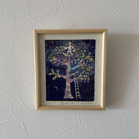 小さな版画絵ayako 「星咲く木」navy