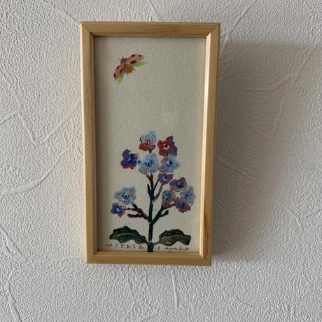 小さな版画絵ayako 「とある花」purple