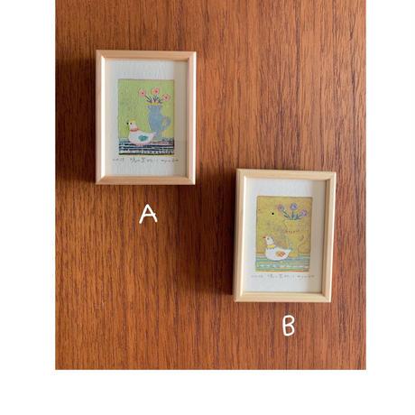 小さな版画絵ayako  「鳩の置物」B