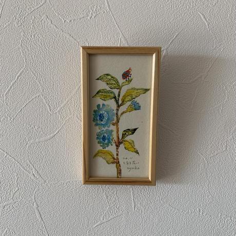 小さな版画絵ayako 「とある花」blue